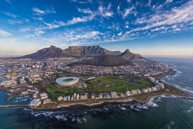 Head to the skies on a 20-minute helicopter tour from Cape Town, and soar above the Atlantic coast, known locally as the Atlantic Seaboard. Leaving the V&A Waterfront, enjoy incredible views of the City Bowl – a tantalizing sign of the good sights still to come! Circle Table Mountain and glide over dramatic stretches of coastline, comprising sandy beaches framed by mountains and, of course, the dazzlingly blue Atlantic Ocean.