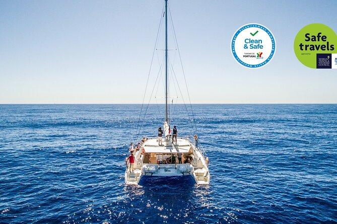 Avistamiento de delfines y ballenas en Madeira desde un lujoso catamarán, ,