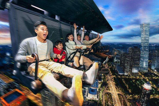 "FlyOver China uses special ""i-ride"" motion seating technology where spectators soar through the air, with feet dangling on board. Fly through the skies and under the water for a journey you will get a brand-new experience of watching movies. It is a different and unique experience, big fun for kids too. <br>One FlyOver China ticket, one Shijingshan Amusement Park admission ticket for free, <br>"