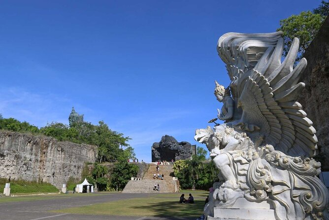 Enjoy panoramic island views as you explore the park on foot or by Segway. Indulge in Indonesian heritage cuisine, immerse yourself in a land steeped in mythology, or plan your next big event in one of GWK's epic venues. Garuda Wisnu Kencana statue depicts Wisnu riding Garuda. In Hindu mythology, Lord Wisnu is seen as the protector of the Universe, while his trusted companion, the mighty eagle-like Garuda represents loyalty and selfless devotion. Kencana means gold, and both are adorned in crowns of gold mosaic. The Garuda is also the national emblem of Indonesia and represents freedom. Designed by renowned Balinese artist Nyoman Nuarta, the statue is made of copper and brass and features 754 modules with 25 steel segments weighing in at a hefty 900 tons, with a steel weight of 1300 tons. The statue and pedestal is 120.9 meters high with a width of 64 meters thanks to Garuda's wingspan.