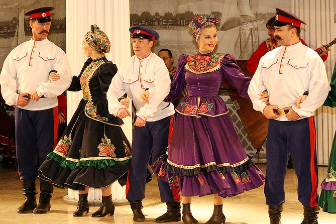 """End your day with a spectacular, fun and energetic Folk Show """"Feel Yourself Russian"""" at the Nikolayevsky Palace! A must-see for all ages, as this engaging colorful program will keep everyone entertained! Choose one of the options that suits your needs best: Show Ticket Only or Combined with a round trip transfer from your hotel."""
