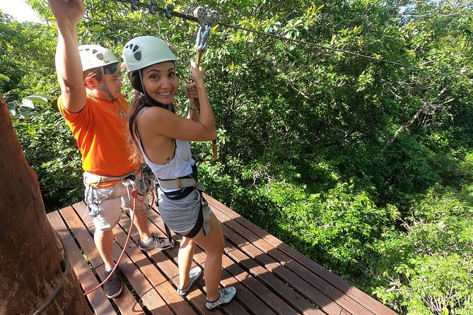In the middle of the exotic flora of Riviera Maya, lies a place where you can release your true adventuring self. Go deep ride into the Mayan jungle and have the best time at Selva Maya Eco Adventure park. Located in Tulum, you will enjoy a combination of amazing activities. Go flying on 9 ziplines and 5 hanging bridges, head to a pyramid for rock climbing, rappel down overlooking a cenote (sinkhole), go swimming or cliff jumping at a cenote and visit a cavern for snorkeling. You'll become one with nature on this tour which also includes lunch.