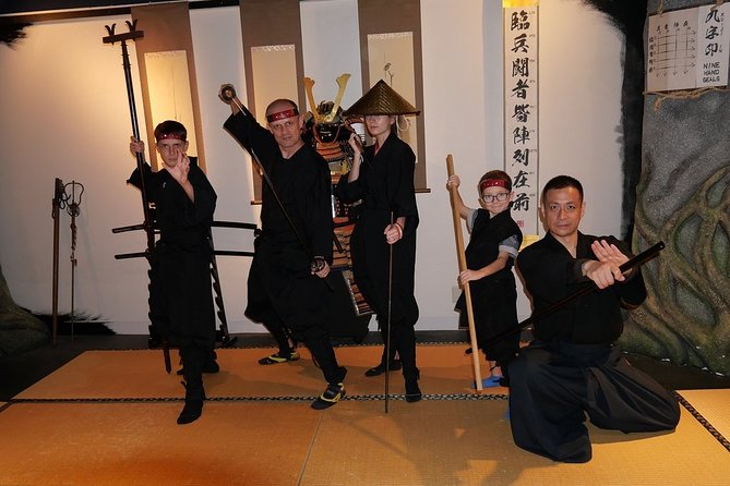 Experience authentic, traditional and historical Ninja training in English. Best things to do in Asakusa, Tokyo for Activity, Group, Couple, Solo, Kids, Family, Martial arts, Workout, Rain, Evening, City, Indoor and All seasons. You can watch performance and learn ninja techniques, spirits and arts, ninja stars, ninja sword, samurai sword, ninja blowgun, various weapons, body operation and meditation with costumes.