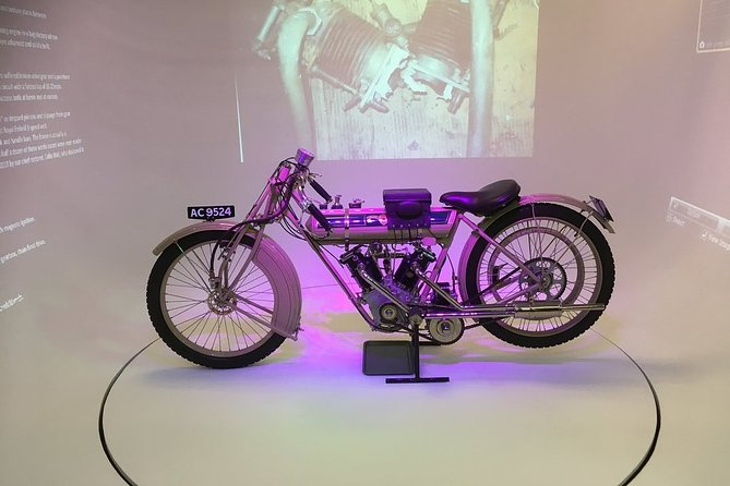 With well over 1000 British motorcycles and 161 manufacturer's marks within the collection, and approximately 850 machines on display at any one time, this is the largest collection of British motorcycles in the world.<br><br>From the 1898 Beeston Humber Tricycle 400cc up to the modern day 2016 Triumph T120.<br><br>All the museums exhibited machines are fully restored to pristine condition to reflect the machine originality as seen at the end of the production line, and exhibited on one level, allowing excellent access for all.