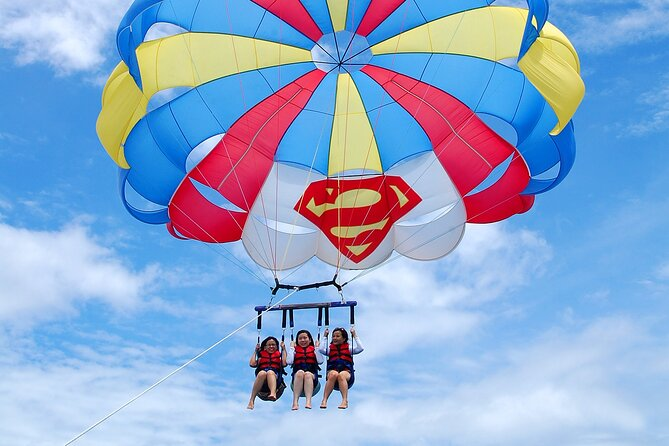 Parasail off the back of our new 31' ocean Pro! 600 ft. of line sends you high over the clear waters of the Laguna Madre Bay and view the entire South Padre Island. You can fly singles, doubles (tandems) or Triples.