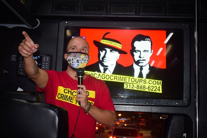 Join us for a fun night of exploring Chicago's crime history on this 2-2.5-hour bus tour that includes:<br><br>* World famous crime scenes like the St Valentine's Day massacre<br>* Stops on-and-off the bus at famous crime sites<br>* True Crime history <br>* Historic video footage<br>* Interactive live commentary <br>* Crime quiz<br>* Souvenir pamphlet with photos<br>* Luxury climate-controlled bus<br>* So much more!<br><br>Some of the world's most notorious criminals, mobsters & gangsters bamboozled their way through Chicago. Escape into the city's criminal underworld as you investigate stories about Al Capone, The Untouchables, the Chicago Mob and more. From a luxury coach, see the sites of storied crime scenes including Biograph Theatre, Holy Name Cathedral, and the St Valentine's Day Massacre, one of Chicago's most notorious murders. Snap photos of the historic criminal courthouse, and hop on-and-off the coach to walk the path that Chicago gangsters John Dillinger and Hymie Weiss followed just before their deaths.