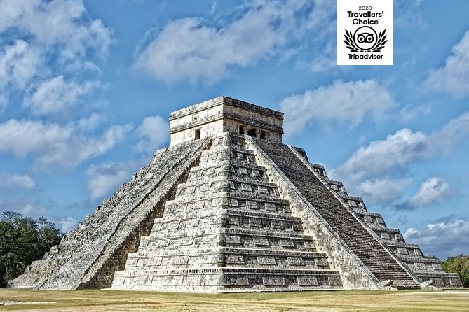 TOP 3 MEXICO TRIPADVISOR AWARDS 2020 WINNER<br><br>Escape Cancun on this 12 hour full day tour to Chichen Itza, one of the main archaeological sites of Yucatan's peninsula. Follow your multilingual guide around the site before enjoying a cool swim in a Cenote. Your tour includes a guided tour of Valladolid, a colonial town on the Yucatan Peninsula and is includedlunch buffet of regional food with vegetarian options. Round transportation from the meeting point is included<br><br>Your tour will include a guided tour of Valladolid, a colonial town on the Yucatan Peninsula.<br><br>We care about your safety and we guarantee a safe route by toll road to Chichen Itza.