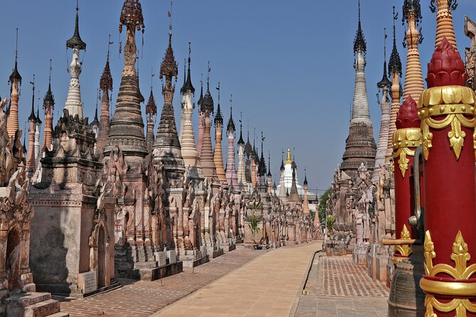 The mystery of Myanmar's Indein's origins remains to date. Eye-catching from the moment one sees the uncountable stupas appear on the horizon, an accessible-by-boat tour from Inle Lake is seen as an extension of the immaculate beauty of the Shan State.<br><br>• Wander through Myanmar's mystery and history<br>• Explore one of Inle Lake's charming towns<br>• Admire the stupas and pagodas from different angles<br>• See how water-based life unfolds from and to Indein<br>• Return boat transfers from and to your resort are included<br>