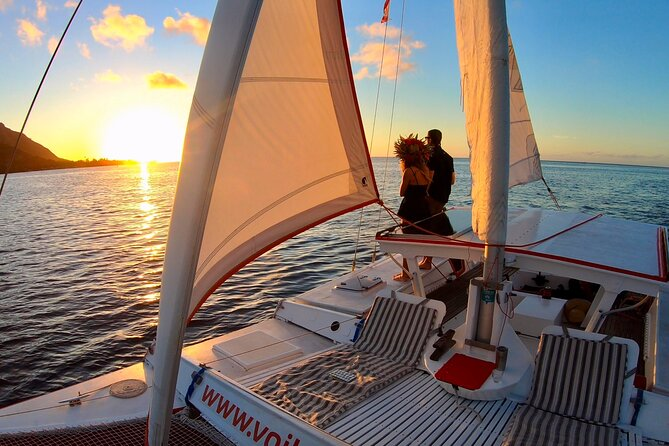 Welcome aboard the Taboo, a sailing catamaran and the perfect way to discover the wonders of Moorea for a private sunset cruise...<br><br>a romantic and relaxing excursion where you'll get to enjoy the sun setting on the lagoon while enjoying a mai tai cocktail...<br><br>We'll leave from the Hilton hotel, on the north coast of Moorea, and we'll go and sail toward the legendary Cook's bay...<br><br>would you like to learn more about Moorea ?... or would you rather sip your cockail and enjoy the silence around ?...let's make it your way, the boat is all yours !