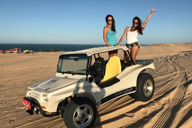 This is one of our best day tours and it has a precise schedule. We will pick you up from your hotel at 7 am. We will start our tour along the East Coast to the three main beaches in the region where we will visit Canoa Quebrada. Upon arriving at the beach, the group will head to the Antônio Coco tent, receiving a number at the entrance that will serve as a consumption password. After lunch, we will head to Praia das Fontes, we will arrive at the entrance of Barra da Sucatinga where we will embark for a buggy ride through Praia das Fontes After, we will go to Praia das Fontes to take photos and enjoy the landscape, then we will head to Praia do Fontes Morro Branco to do the one-hour ecological hike through the Natural Park of the Falésias with the local guide and then we will return to Fortaleza where we will disembark at the same boarding place.