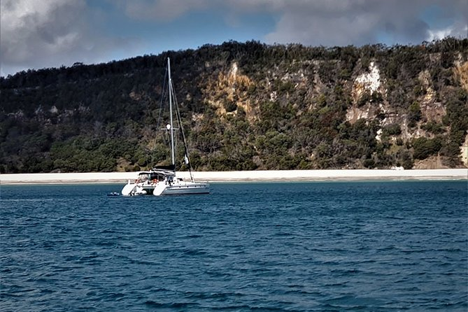 Fraser Island Boat Charters offers a range of skippered private yacht charters including half day, full day and overnight options the are fully catered to ensure you can just sit back and enjoy time on the water. Private charters will depart from Hervey Bay and set sail across the Great Sandy Strait and feature locations like the beautiful western coast of Fraser Island, Big Woody Island, Round Island, Pelican Bank and Wathumba Creek. This intimate experience is available for up to 32 for a day charter and 6 for overnight adventures.