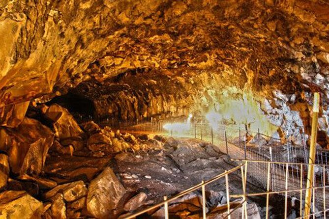 """Shoshone Indian Ice Caves is a National Historic Site and the largest Lava Ice Cave known. This dramatic and beautiful ice cave is Idaho's largest cave located 100 feet below the surface of the earth. It is a world of volcanic wonder and ice that was formed over 2,000 years ago.<br><br>The world famous Bear Claw Trading Post is a must-see and hidden """"gem"""" in the middle of the desert. At this specialty gift shop, you will find authentic Native American art and jewelry and unique imports from five continents. <br><br>Take a drive through the Historic District of Shoshone, ID, the gateway to Sun Valley as your interpretive guide shares the stories and history of the people who called the """"oldest city in the Magic Valley"""" home."""