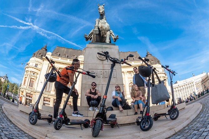 Immerse in the tumultuous and eclectic Bucharest by riding an E-scooter in a guided exploration circuit that covers the main city landmarks.<br>Founded by Vlad the Impaler (known as Dracula) in 1459, Bucharest modernized rapidly from 1866 to 1947 due to the Royal Court of Romania efforts that connected Bucharest to the trends of architectural and city development principles used from all the European capitals.<br>In the 90 minutes of riding a comfortable and safe E-scooter on the dedicated lanes of Bucharest you will explore main city boulevards, stopping on the main landmarks making photos and hearing the life and history stories of this amazing city of Europe.<br>Find out Tour's spectacular life stories on 3 chapters: The birth &the end of the Romanian Monarchy (1866-1847), The rise & fall of Communism in Romania (1944-1989), The city transformation from the Little Paris of the '20 into the Little Pyongyang of the 80's belonging to Ceausescu.<br>