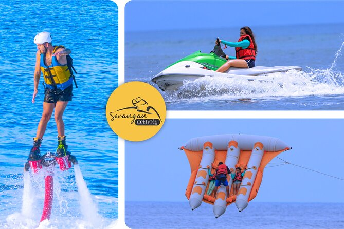 Fly Boarding is a device for Jet-Ski which allows propulsion underwater and on air. When you go Fly Boarding, you will stand on the board which connected with long hose to Jet-Ski.<br><br>One of the water activities in Bali is Bali flying fish water ride. Bali flying fish is a marine sports game activities on seawater, using a rubber boat that looks like a real flying fish.<br><br>Bali Jet Ski has a lot of ocean, allowing you to go jet-skiing! It is not difficult and you can determine your own speed. Explore the wonderful beaches in Bali.