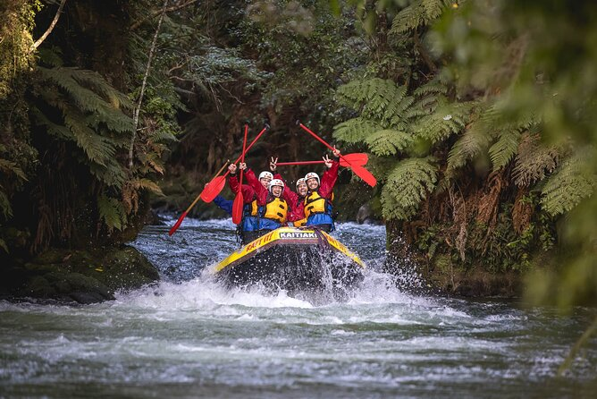 Raft through 14 rapids including cascadesranging from 3 to 22 feet (1 to 7 meters), including the world's highest commercially rafted waterfall. Pass through steep, bush-clad canyons and New Zealand native forest, ideal for rafting enthusiasts and first-timers alike. River guidesprovide a full safety briefing withquality clothing and equipment for this 3.5-hourwhite-water adventure on theKaituna River.