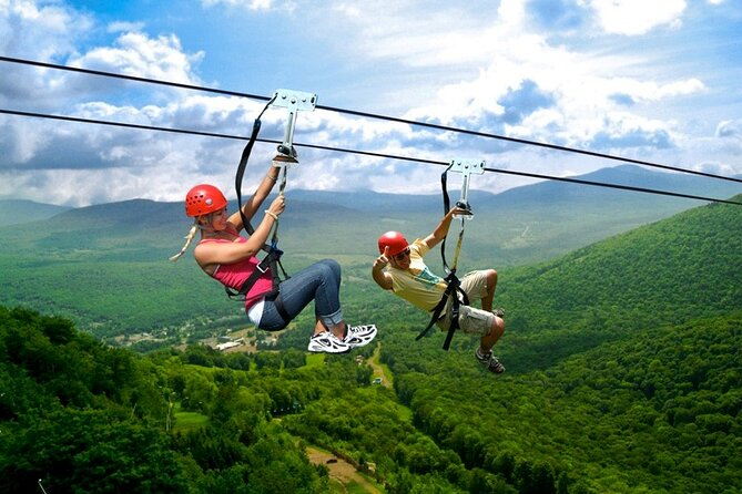 This zip line is the highest, fastest, longest in North America! It's also the second largest in the world! The zip lines soar 600 feet (.183 km) above the ground for over 4 miles (over 6 km) and reache speeds of up to 50 MPH (80 KPH)! <br><br>The waterfall is the highest cascading in New York State! It drops in two tiers and over 260 feet! It's also 90 feet higher than Niagara Falls! <br><br>You don't want to miss this trip! You only live once!