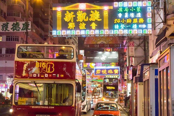 Recorrido nocturno en autobús Big Bus con techo descubierto en Hong Kong, Hong Kong, CHINA