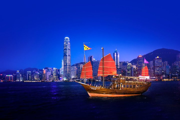 Aqua Luna: Crucero al atardecer en el puerto Victoria, Hong Kong, Hong Kong, CHINA