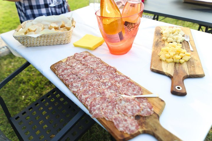 Degustação de vinhos e comida local na vinha em Lazise, Lago de Garda, Itália