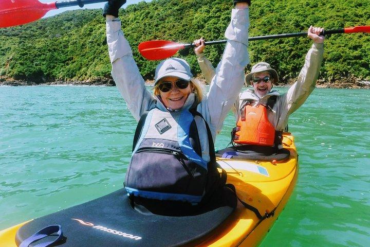 Small group guided sea kayaking in Akaroa marine reserve, Akaroa, NUEVA ZELANDIA