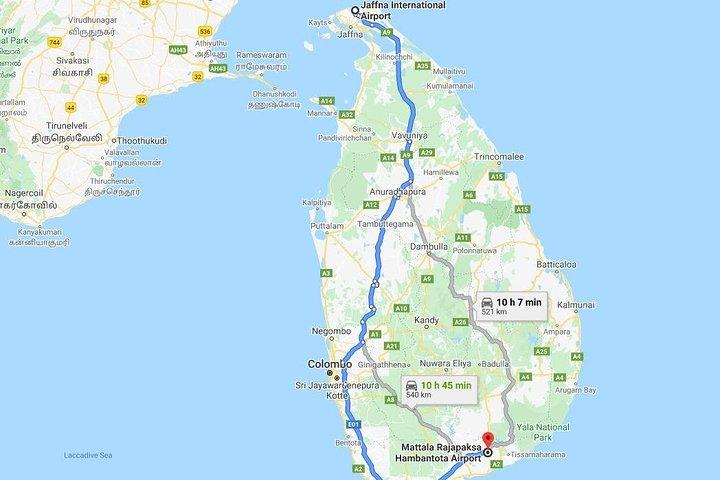 Jaffna Intl. Airport (IATA: JAF) to Mattala Intl. Airport (IATA: HRI) Transfer, Jaffna, SRI LANKA