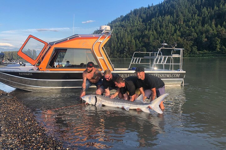 Sturgeon fishing on the Fraser river, Fraser Valley, CANADÁ