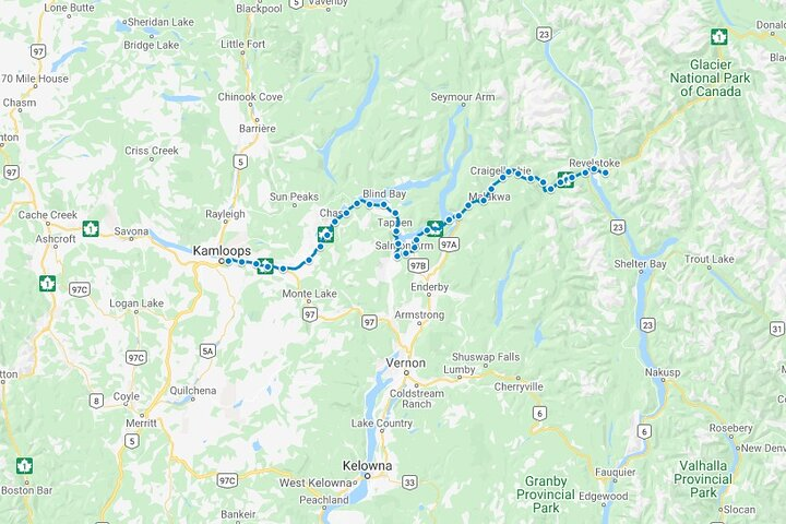 GPS-Guided Audio Driving Tour between Kamloops & Revelstoke, ,